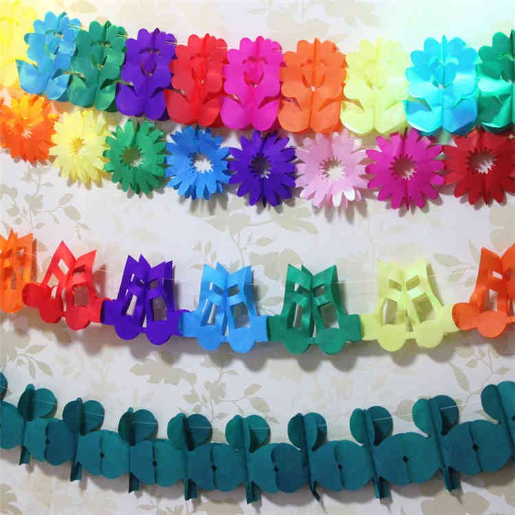 Uimss Factory Supply Colorful Flower Music Note Dragonfly Tissue Paper Garland
