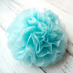 sky blue paper tissue flowers