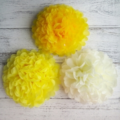 yellow tissue paper balls
