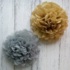 gold ang silver tissue pom poms