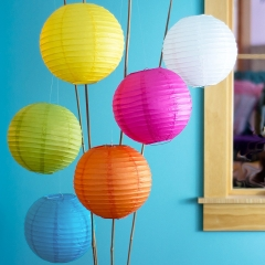14-Inch Multicolor Set of 6 Chinese Paper Lanterns