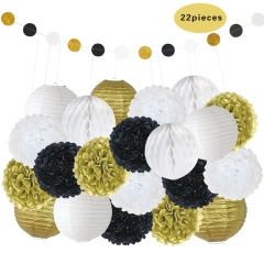 Birthday Party Decorations gold black white set